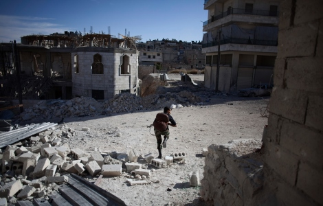 syria aleppo syrian rebel runs to cover assad snipers